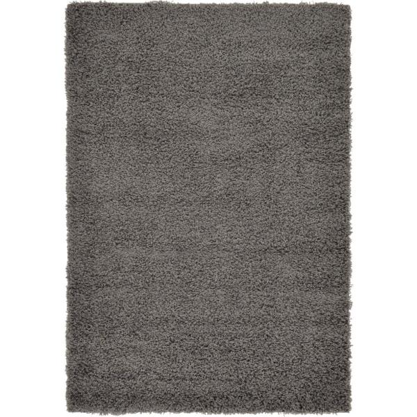 Solid Shag Graphite Gray 4 ft. x 6 ft. Area Rug