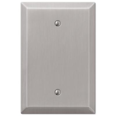 Oversized 1 Gang Blank Steel Wall Plate - Brushed Nickel