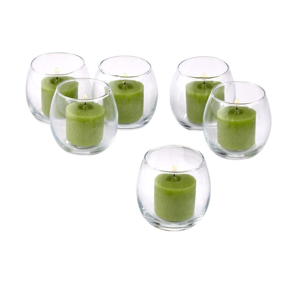 Clear Glass Hurricane Votive Candle Holders with Lime Green Votive Candles