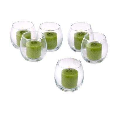 Clear Glass Hurricane Votive Candle Holders with Lime Green Votive Candles (Set of 12)