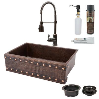 All-in-One Undermount Copper 33 in. 0-Hole Single Bowl Kitchen Sink with Barrel Strap Design in Oil Rubbed Bronze