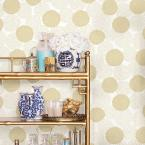 A-Street 8 in. x 10 in. Blithe Gold Floral Wallpaper Sample