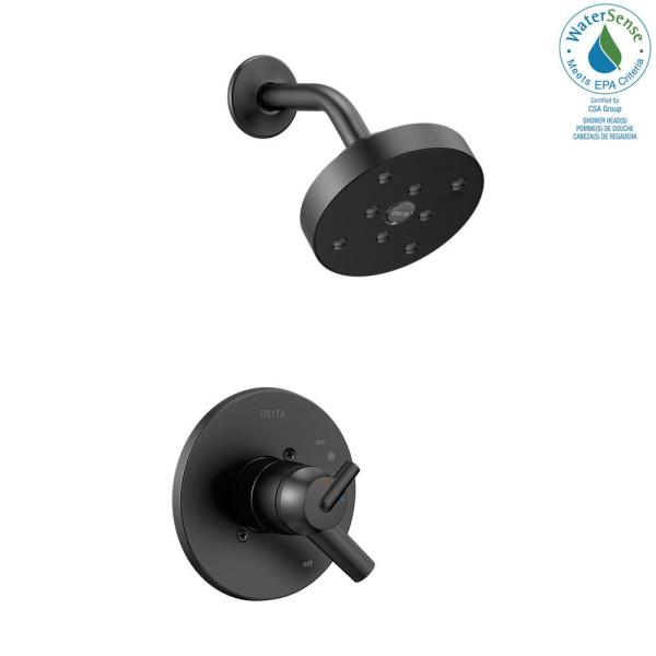 Delta Trinsic 1 Handle Wall Mount Shower Trim Kit With H2okinetic In Matte Black Valve Not Included T17259 Bl The Home Depot