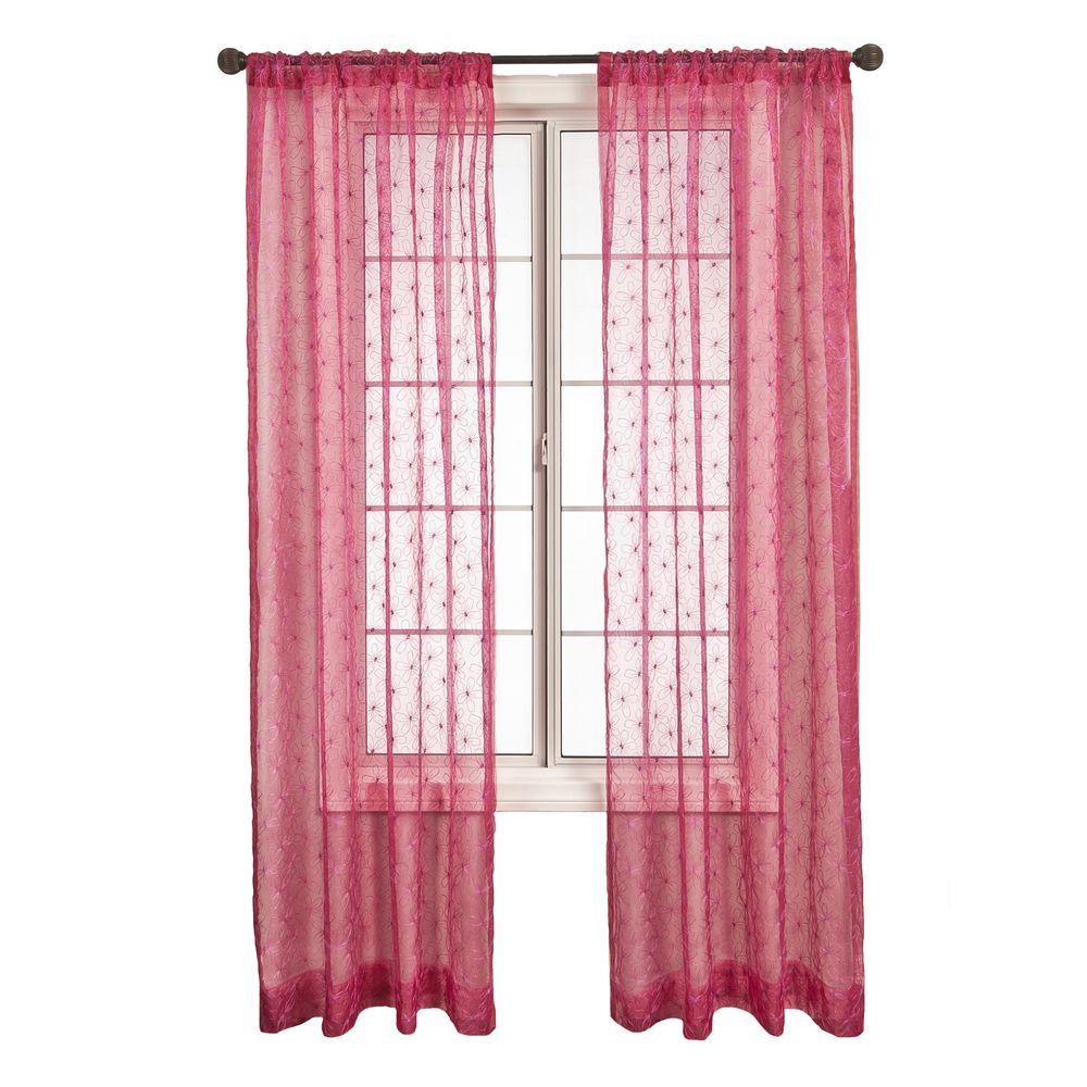 Home Decorators Collection Sheer Fantasia Hot Pink Rod Pocket Curtain