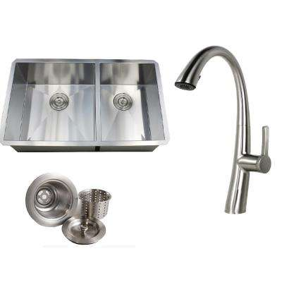 Undermount 32 in. x 19 in. x 10 in. Deep Stainless Steel 16-Gauge Double Bowl 60/40 Kitchen Sink Faucet Combo