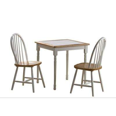 3-Piece White and Natural Dining Set