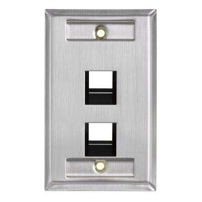 1-Gang QuickPort Standard Size 2-Port Angled Wallplate with ID Windows, Stainless Steel
