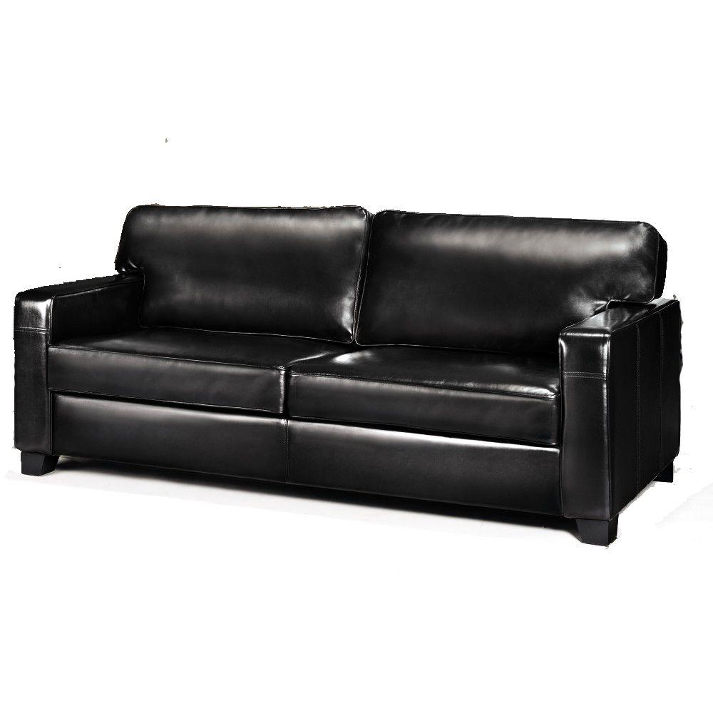 Home Decorators Collection Hartford Black Leather Sofa