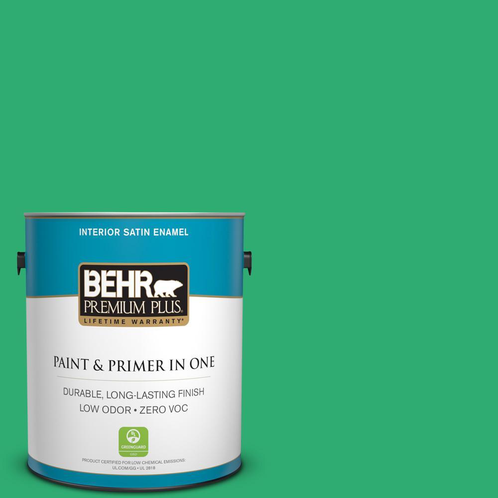 1-gal. #460B-5 Fresh Greens Zero VOC Satin Enamel Interior Paint