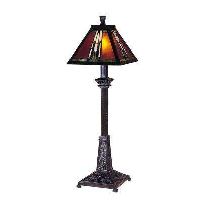 30 in. Amber Monarch Mica Bronze Buffet Table Lamp