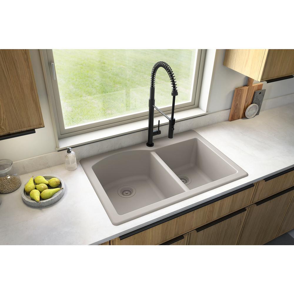 Karran QT-610 Drop-In Quartz Composite 33 in 1-Hole 60//40 Double Bowl Kitchen Sink Kit in Grey