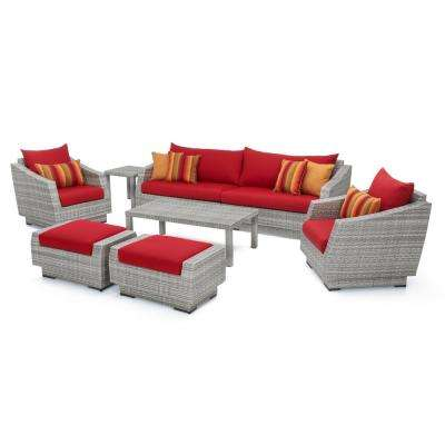Cannes 8-Piece All-Weather Wicker Patio Sofa and Club Chair Conversation Set with Sunset Red Cushions