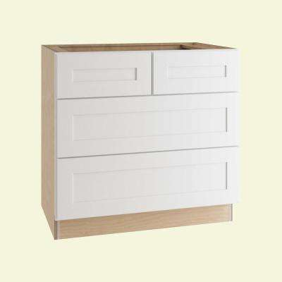 Newport Assembled 36 in. x 34.5 in. x 24 in. Base Kitchen Cabinet with 4 Drawers in Pacific White