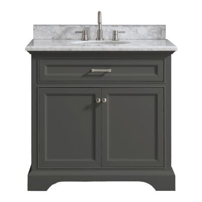 Windlowe 37 in. W x 22 in. D x 35 in. H Bath Vanity in Gray with Carrara Marble Vanity Top in White with White Sink