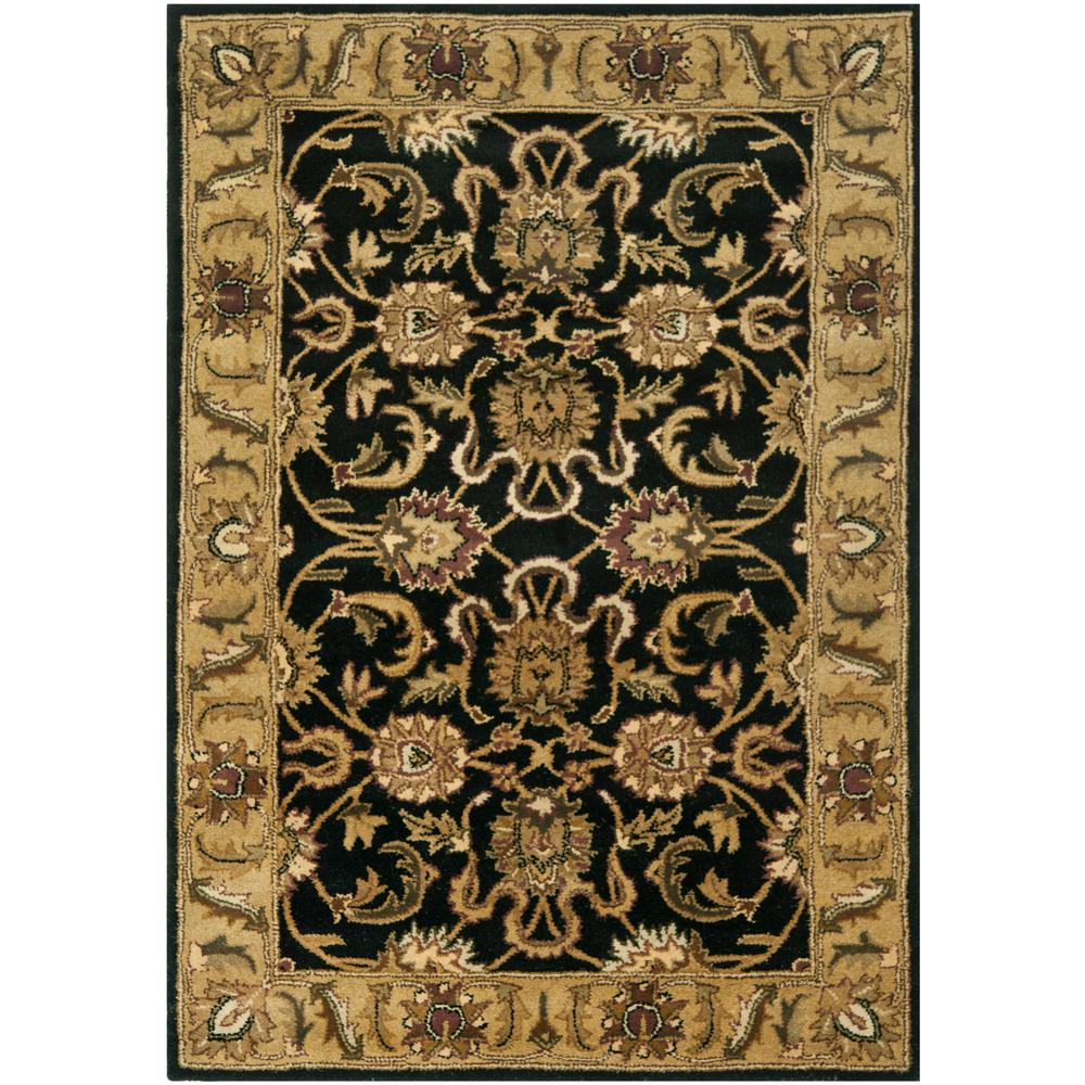 Large Area Rugs Gold: Safavieh Classic Black/Gold 4 Ft. X 6 Ft. Area Rug-CL252A