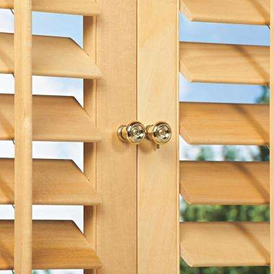 Light Teak 2-1/4 in. Plantation Real Wood Interior Shutter 35 to 37 in. W x 72 in. L
