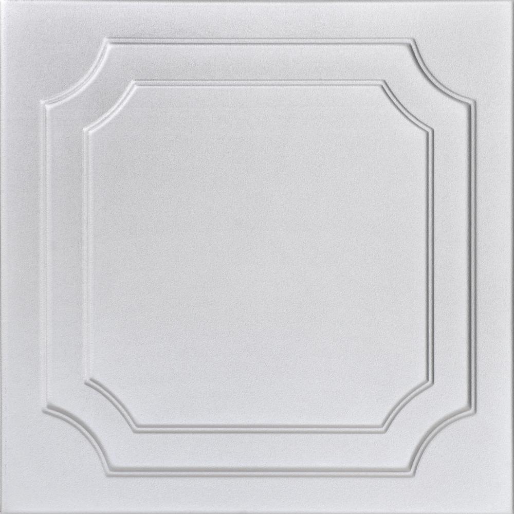 Virginian 1.6 ft. x 1.6 ft. Foam Glue-up Ceiling Tile in Silver