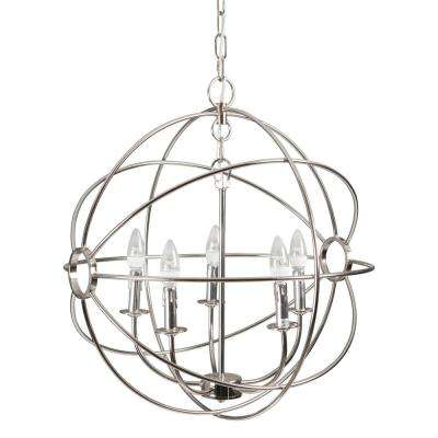 Shooting Star 5-Light Nickel Plated Mini Chandelier