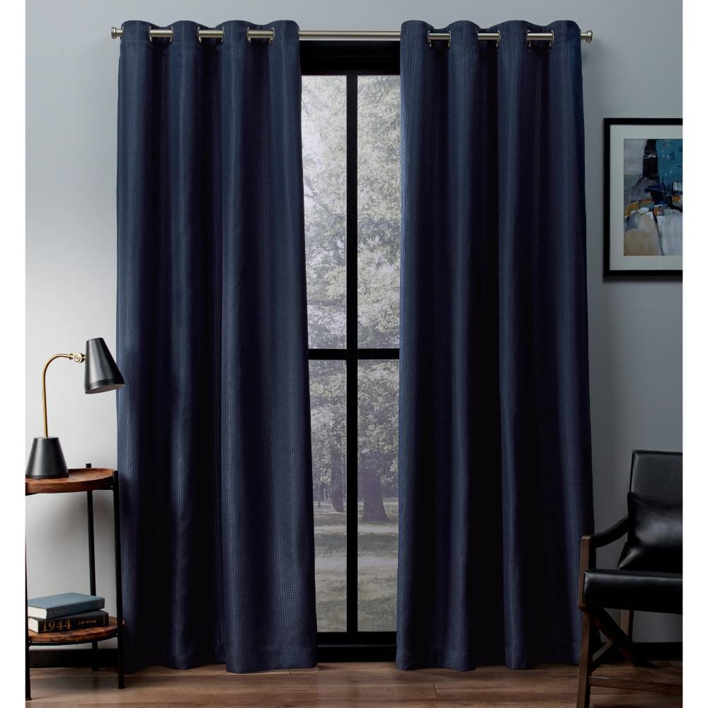 Eglinton 52 in. W x 84 in. L Woven Blackout Grommet Top Curtain Panel in Indigo (2 Panels)