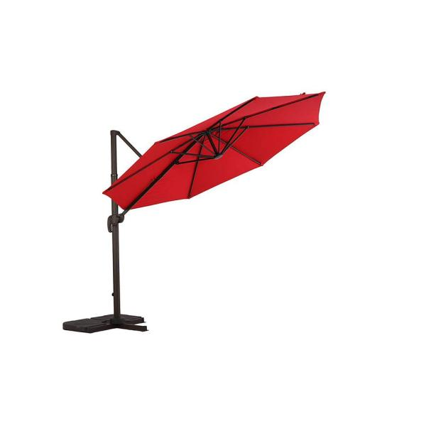 10 ft. UV Protected Cantilever Patio Umbrella with Tilt and 360° Rotation in Brick Red