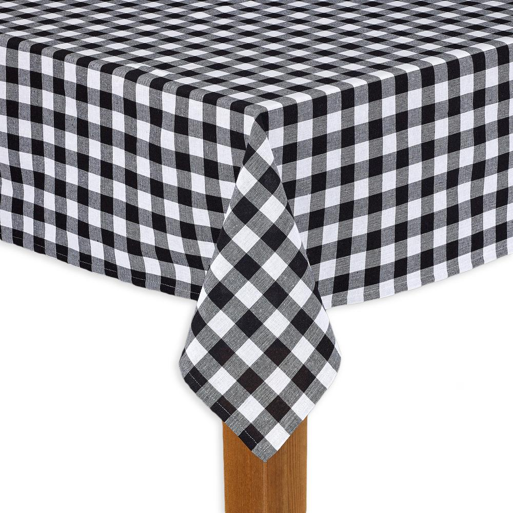 Buffalo Check 70 in. Round Black 100% Cotton Table Cloth for