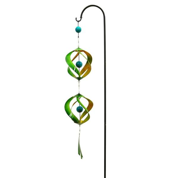 Green and Yellow Metal Wind Spinner with Shepherd Hook