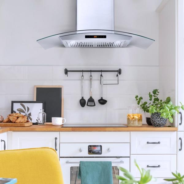 Cosmo 36 In Ducted Wall Mount Range Hood In Stainless Steel With Touch Controls Led Lighting And Permanent Filters Cos 668as900 The Home Depot