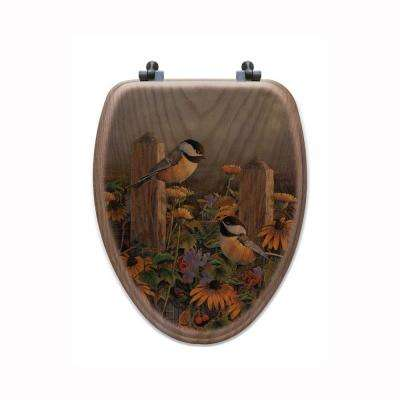 Linda's Chickadees Elongated Closed Front Wood Toilet Seat in Oak Brown
