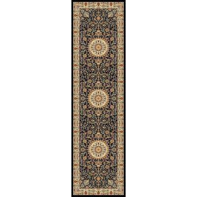 Williams Collection Tabriz Black 2 ft. 2 in. x 7 ft. 10 in. Rug Runner