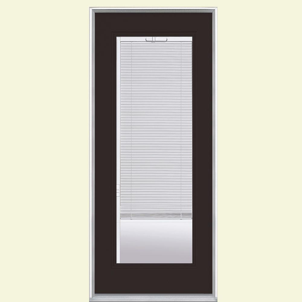 Masonite 32 in. x 80 in. Left Hand Inswing Full Lite Mini Blind Painted Steel Prehung Front Door with No Brickmold