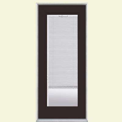 32 in. x 80 in. Left Hand Inswing Full Lite Mini Blind Painted Steel Prehung Front Door with No Brickmold