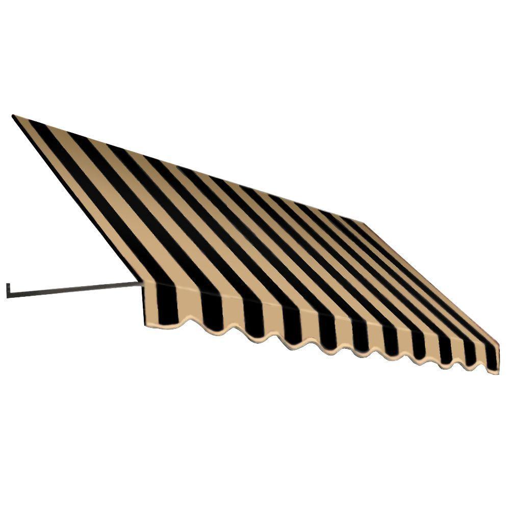 AWNTECH 8 ft. Dallas Retro Window/Entry Awning (16 in. H x 30 in. D) in Black/Tan Stripe