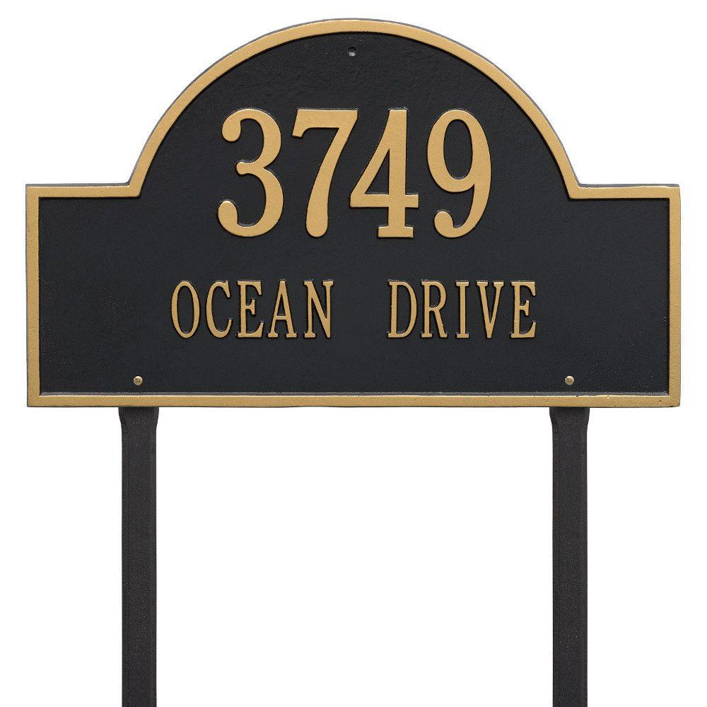 Whitehall Products Arch Marker Estate Black Gold Lawn 2 Line Address Plaque