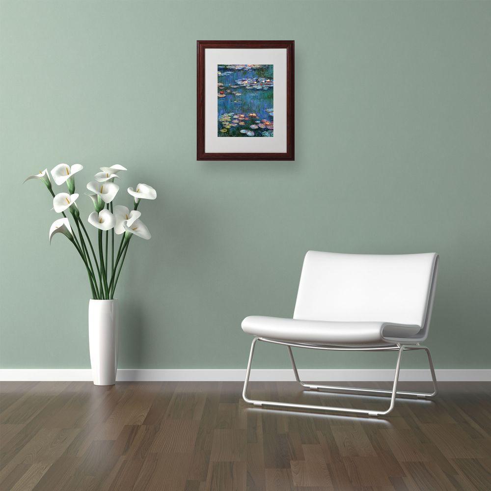 Trademark Fine Art 16 in. x 20 in. Waterlilies Classic Matted Brown Framed Wall Art