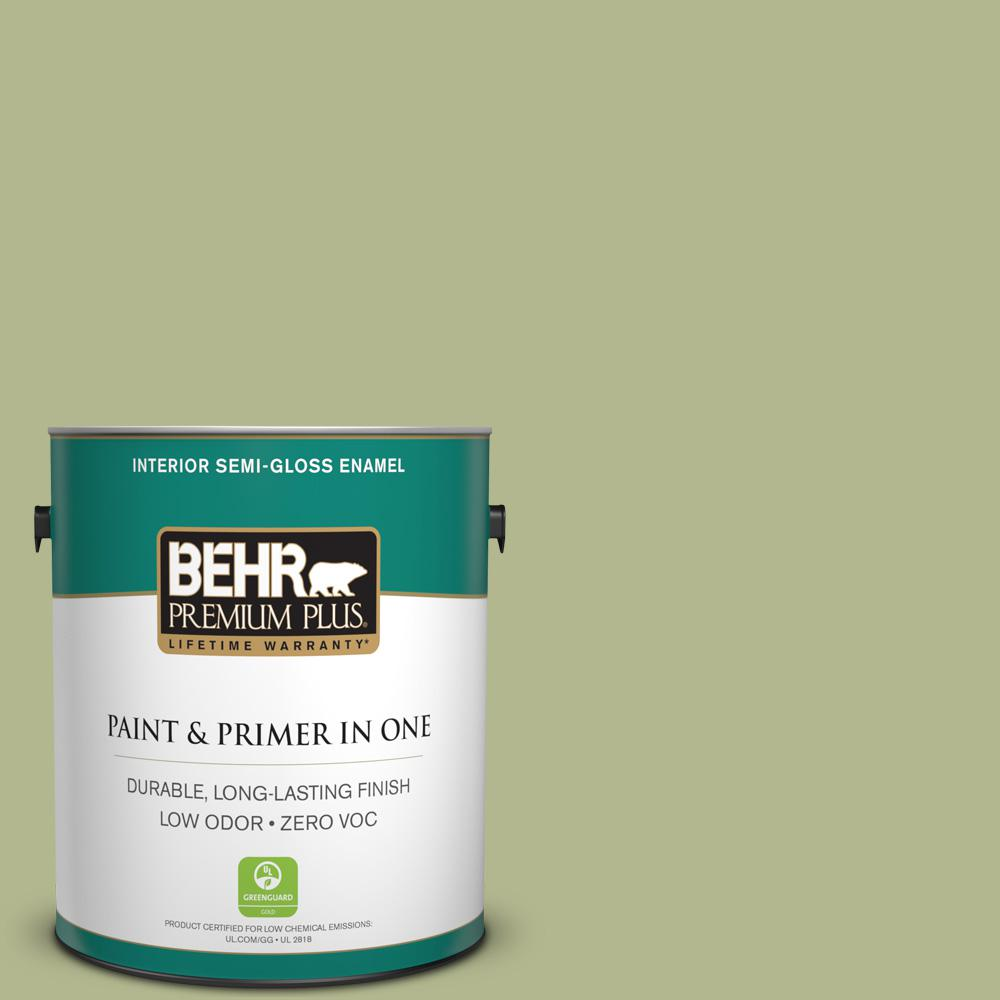 1-gal. #HDC-SP14-1 Secret Glade Zero VOC Semi-Gloss Enamel Interior Paint