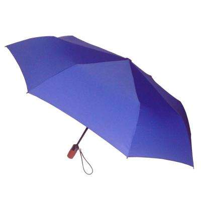44 in. Arc Canopy 3 Sectional Telescopic Mini Auto Open Auto Close Umbrella in Cobalt