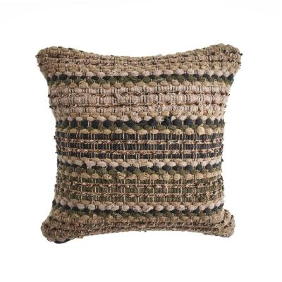 Loop Beige and Brown Stripes Hypoallergenic Polyester 18 in. x 18 in. Throw Pillow