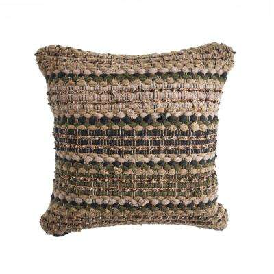 Khaki Loop Beige / Brown 18 in. x 18 in. Decorative Throw Pillow