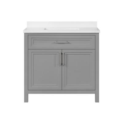 Mayfield 36 in. W x 22 in. D Vanity in American Gray with Cultured Marble Vanity Top in White with White Basin