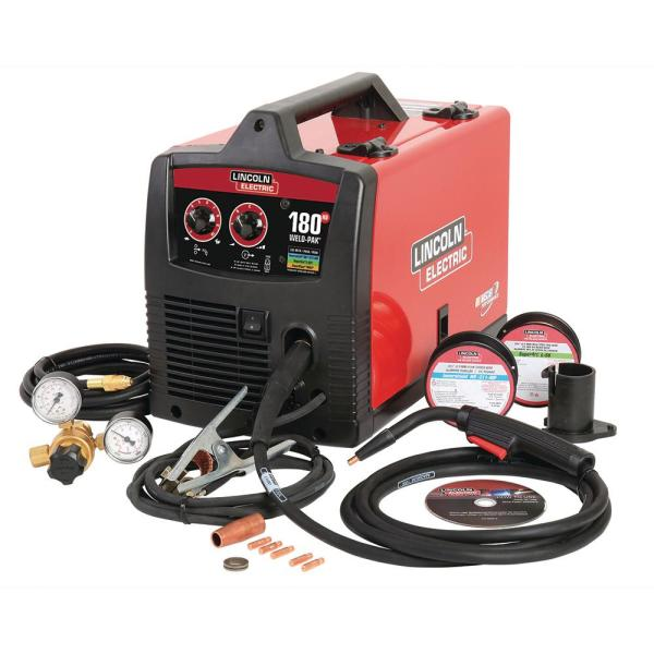 180 Amp Weld-Pak 180 HD MIG Wire Feed Welder with Magnum 100L Gun, Gas Regulator, MIG and Flux-Cored Wire, 230V