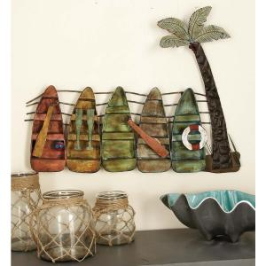 30 inch x 23 inch Coastal Inspired Canoe and Palm Tree Metal Wall Decor by