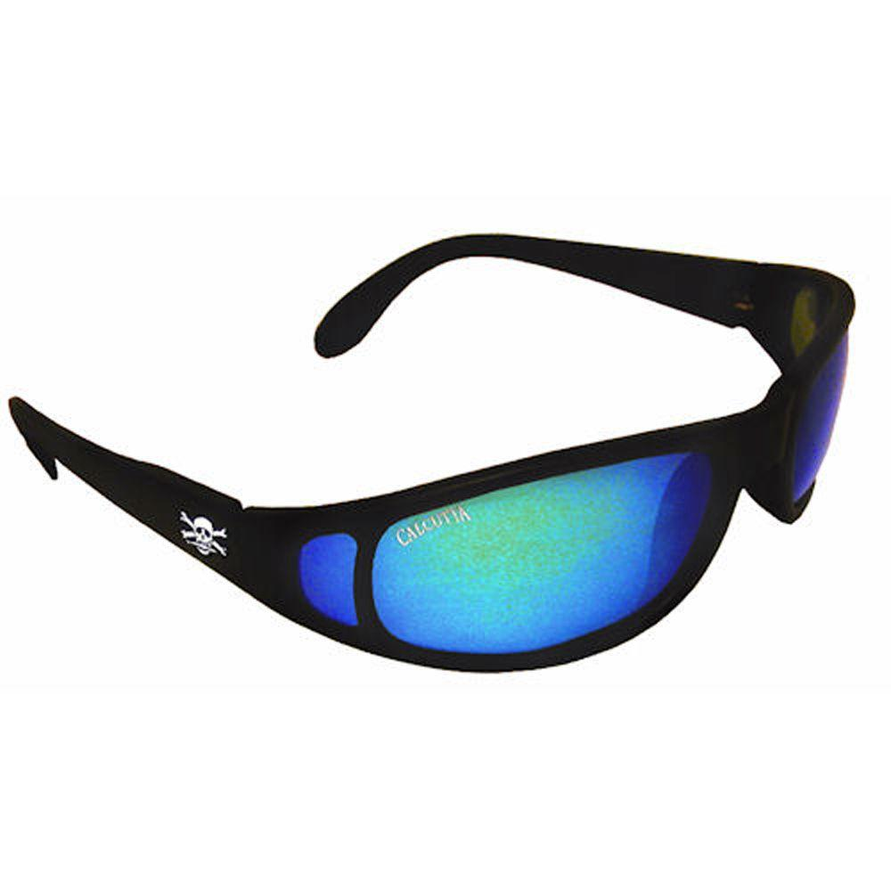 Black Frame Newport Sunglasses with Mirror Lenses in Blue