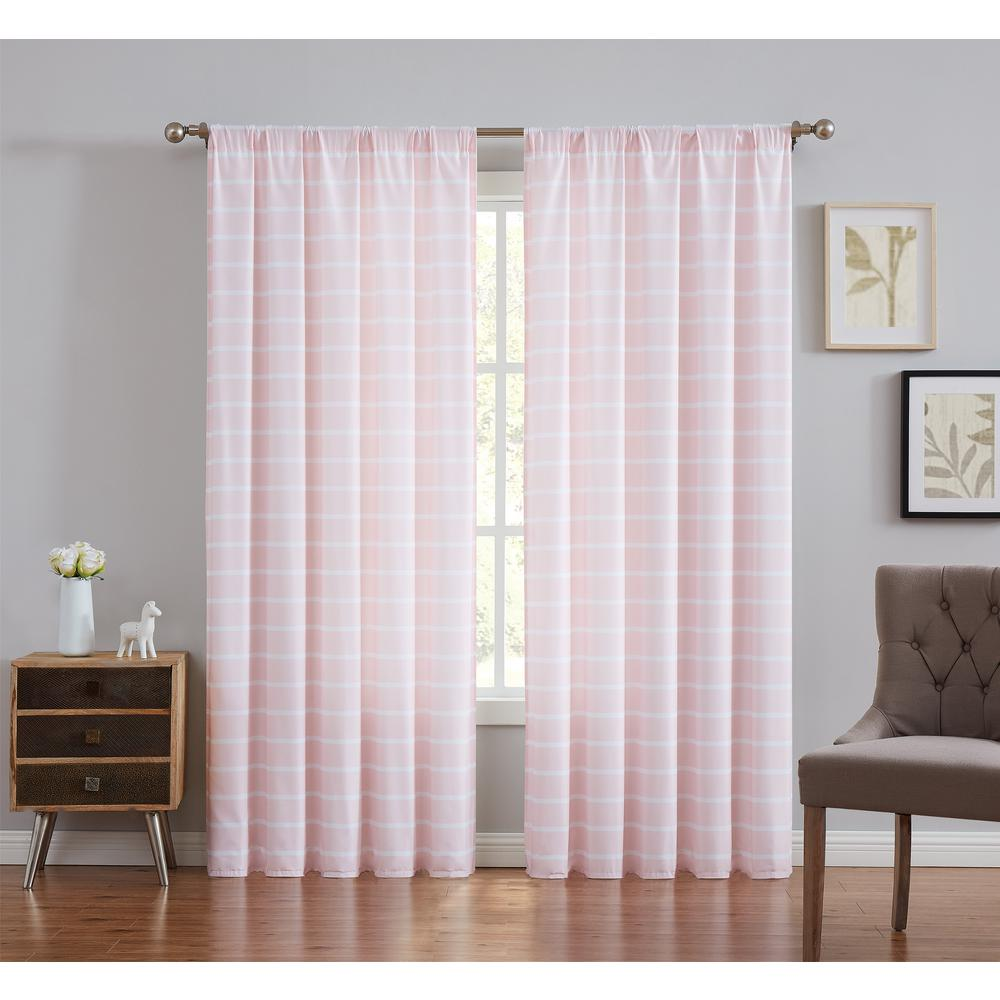 Truly Soft Blush Maddow Stripe Light Filtering Window Panel Pair - 50 in. W x 84 in. L