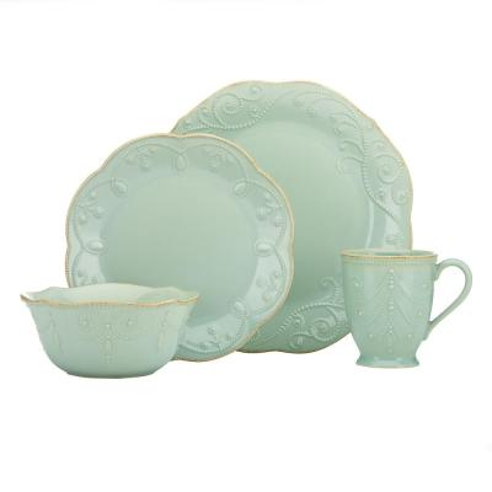 French Perle 4-Piece Ice Blue Dinnerware Set