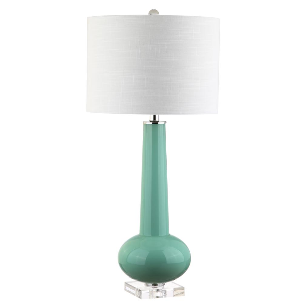 Hope 31 in. Green with Crystal Base Glass Table Lamp