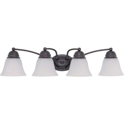 4-Light Mahogany Bronze Vanity Light with Frosted White Glass