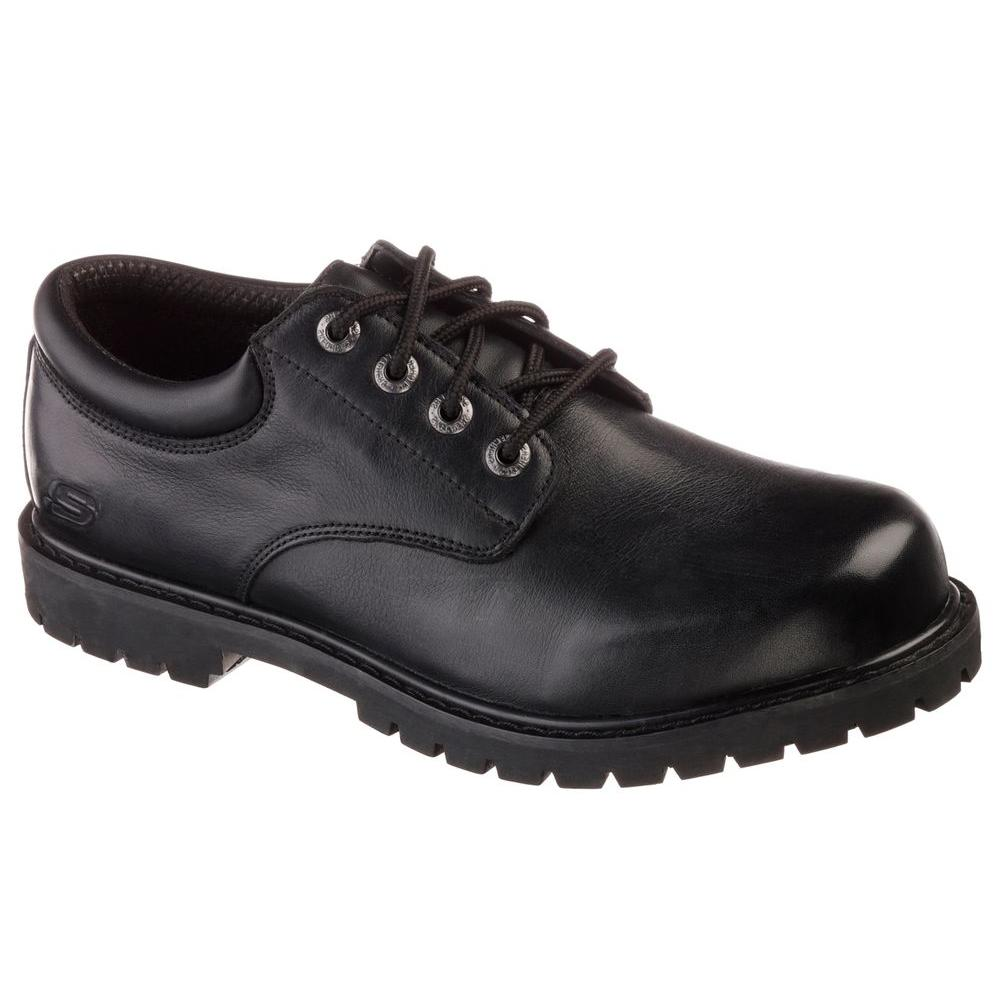 9ea73b9f4e95c Skechers Cottonwood - Elks Men Size 10.5 Black Leather Work Shoe-77041EW -  The Home Depot