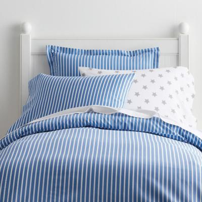 Aiden Stripe Pacific Blue Cotton Percale Full Duvet Cover