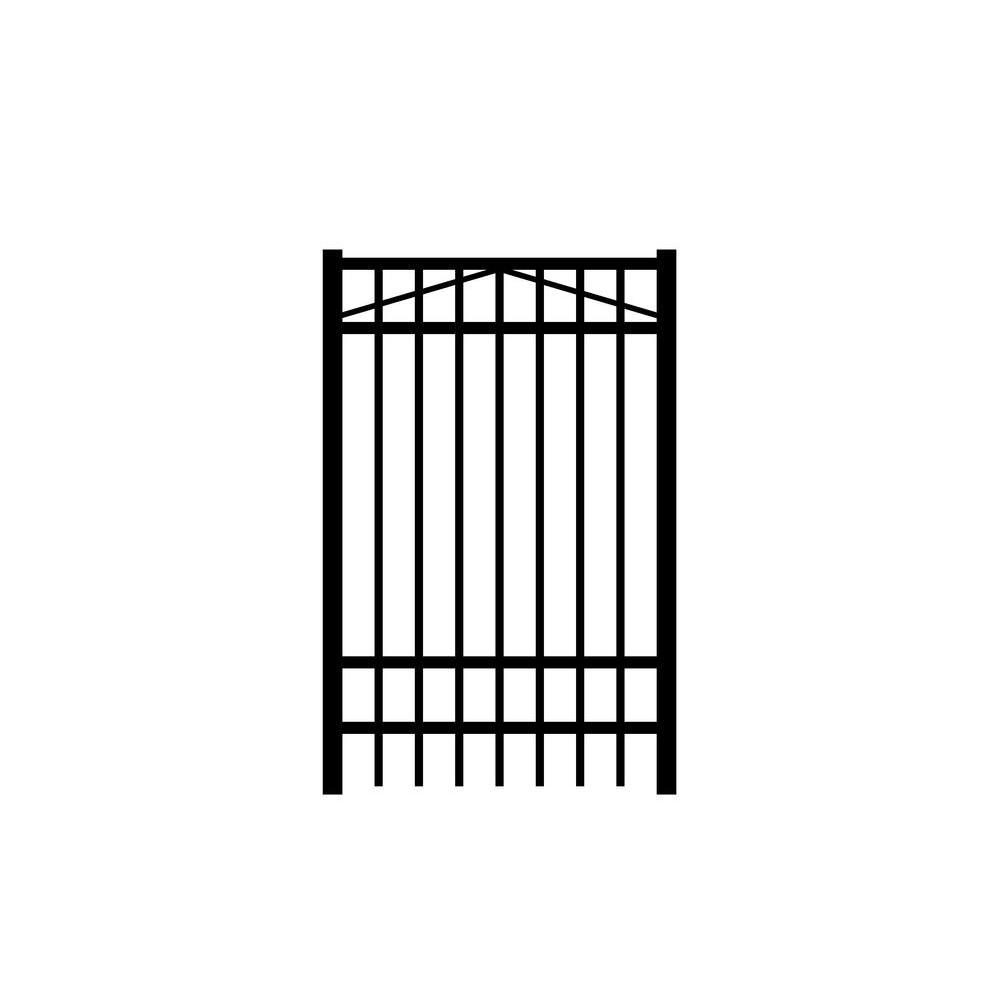 Jefferson 3 ft. W x 6 ft. H Black Aluminum 4-Rail Fence Gate