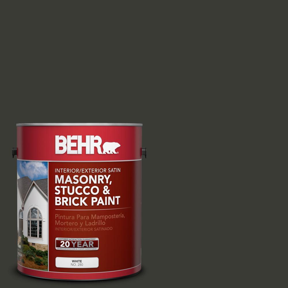 1 gal. #ECC-10-2 Jet Black Satin Interior/Exterior Masonry, Stucco and Brick Paint